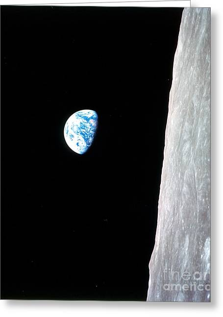 Lunar Surface Greeting Cards - Earthrise From Apollo 8 Greeting Card by Nasa