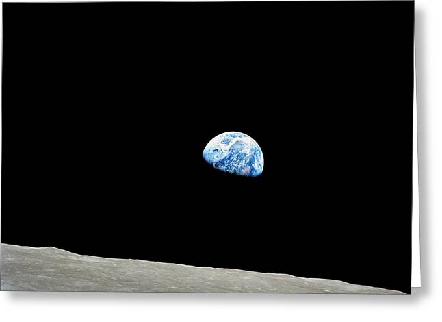 Lunar Greeting Cards - Earthrise Over Moon, Apollo 8 Greeting Card by Nasa