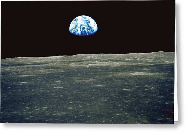 Apollo Program Greeting Cards - Earthrise Photographed From Apollo 11 Spacecraft Greeting Card by Nasa