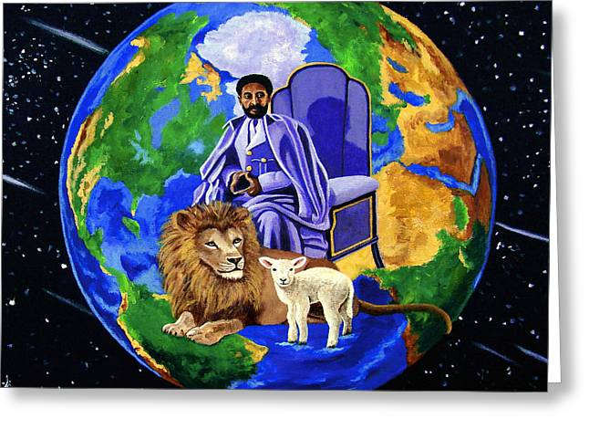 Lion Lamb Greeting Cards - Earths Rightful Ruler Greeting Card by EJ Lefavour