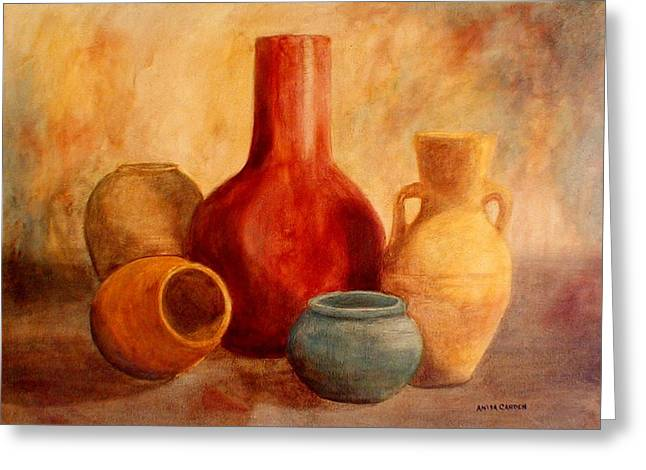 Original Pottery Greeting Cards - Earthtone Pottery Greeting Card by Anita Carden