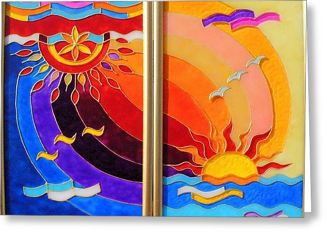 Sun Glass Art Greeting Cards - East and West Greeting Card by Danuta Duminica
