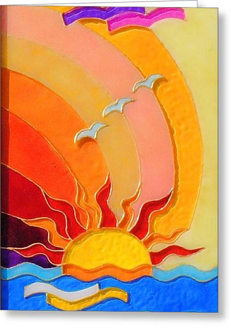 Pictura Greeting Cards - East and West panel East Greeting Card by Danuta Duminica