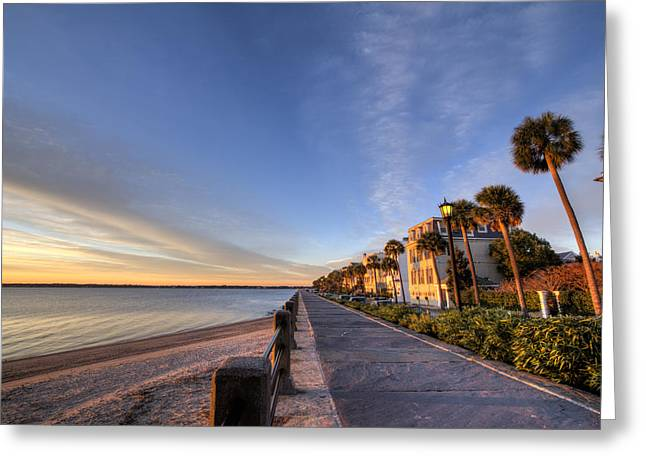 East Digital Greeting Cards - East Battery Row Charleston South Carolina Sunrise Greeting Card by Dustin K Ryan