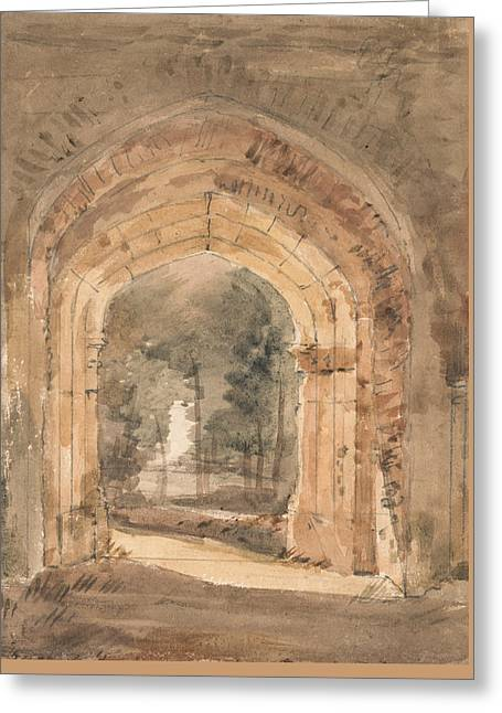 East Bergholt Church Looking Out The South Archway Of The Ruined Tower  Greeting Card by John Constable
