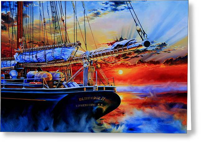 Tall Ship Greeting Cards - Red Sky In The Morning Greeting Card by Hanne Lore Koehler