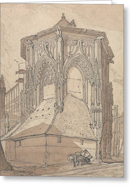 East End Of Saint Jacques At Dieppe, Normandy Greeting Card by John Sell Cotman