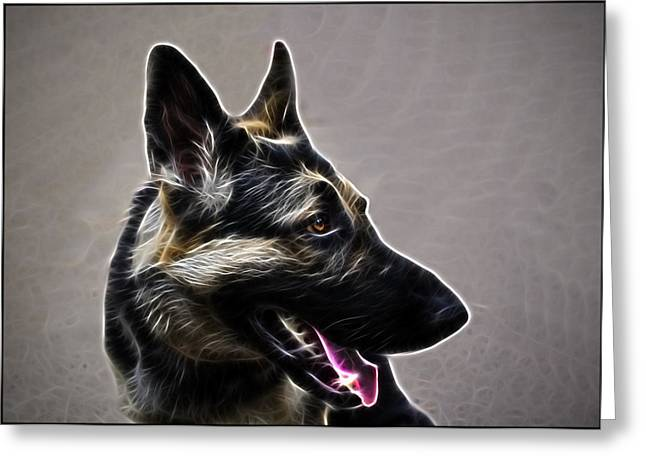 Working Dog Greeting Cards - East European Shepherd or German Shepherd Greeting Card by Alexey Bazhan
