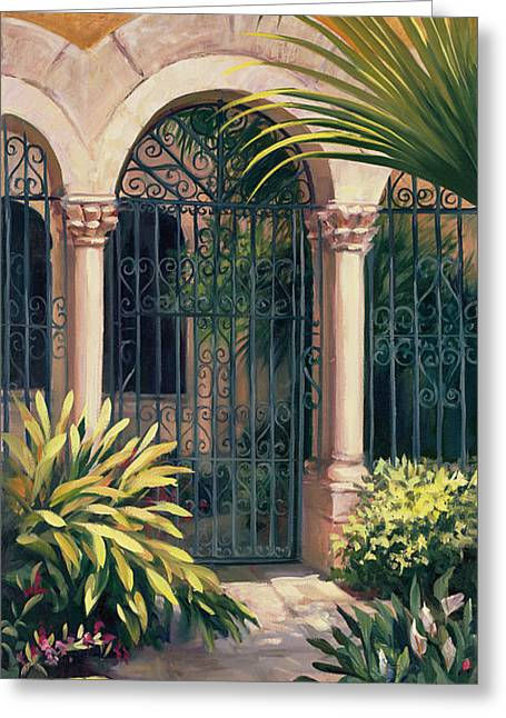 East Gate Greeting Card by Laurie Hein