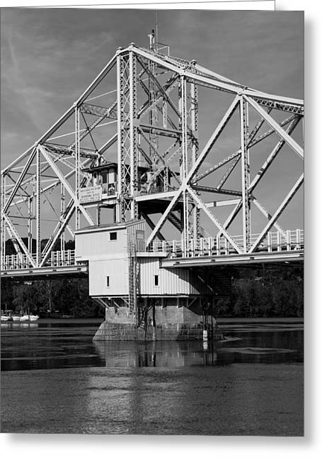 East Haddam Connecticut Greeting Cards - East Haddam Bridge Bw Greeting Card by Mountain Dreams