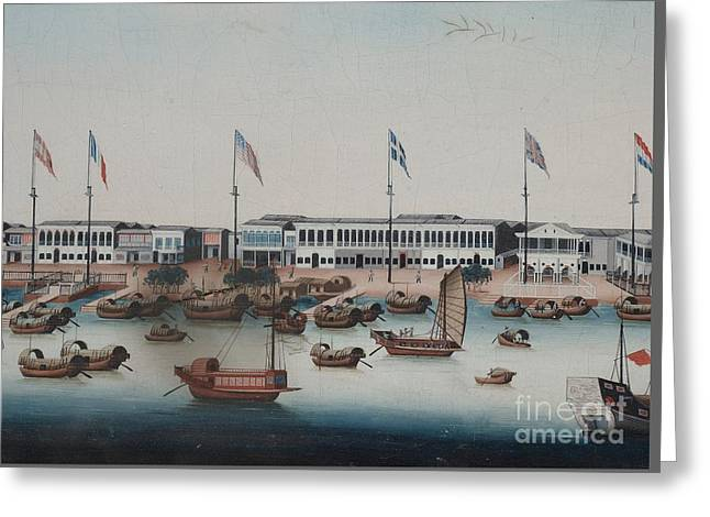 Anonymous Paintings Greeting Cards - East India Factories In Canton Greeting Card by Celestial Images