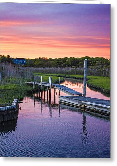 Recently Sold -  - Bay Bridge Greeting Cards - East Moriches Sunset Greeting Card by Robert Seifert
