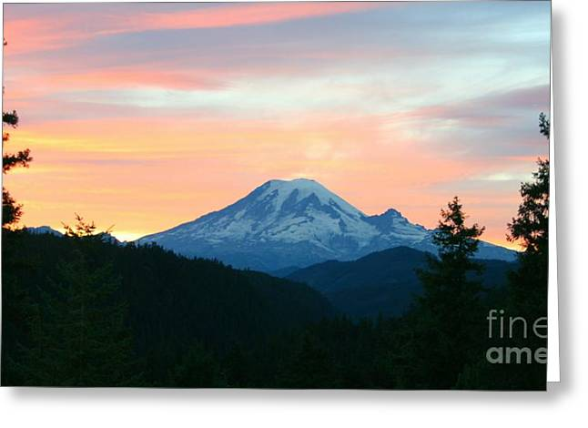 Snow Capped Greeting Cards - East of Mt Rainier Greeting Card by Teresa A Lang
