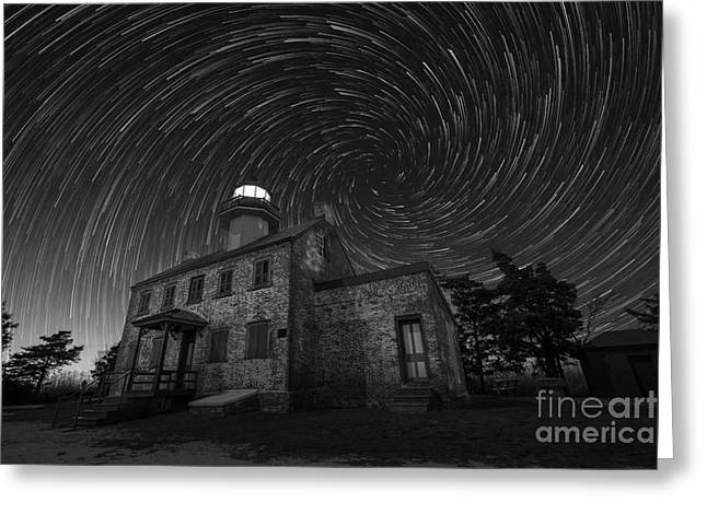 Photographers East Point Greeting Cards - East Point Light Vortex Star Trails BW Greeting Card by Michael Ver Sprill