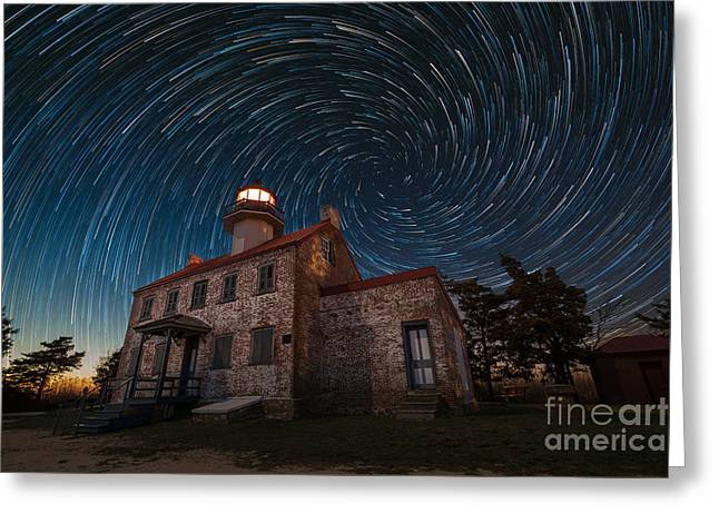 Photographers East Point Greeting Cards - East Point Light Vortex Star Trails Greeting Card by Michael Ver Sprill