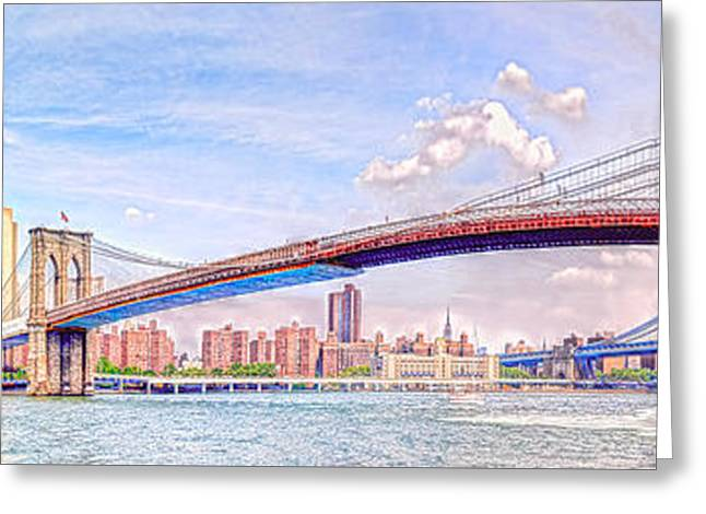 Buildings In The Harbor Greeting Cards - East River Crossing Greeting Card by John Amelia