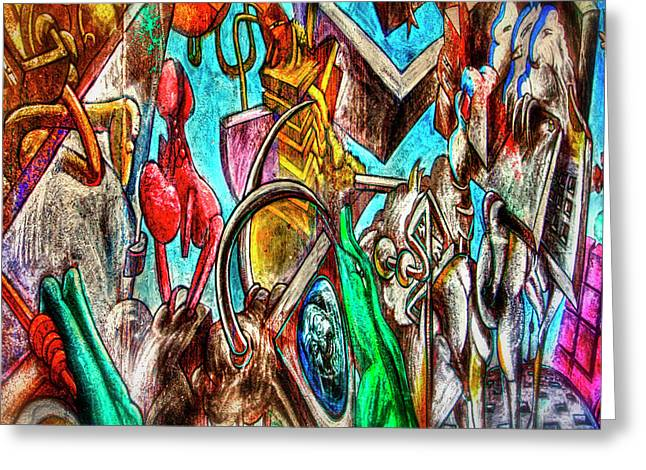 East Side Gallery Greeting Card by Joan Carroll
