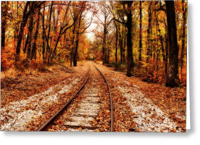 Indiana Autumn Greeting Cards - Eastbound Greeting Card by Sandy Keeton