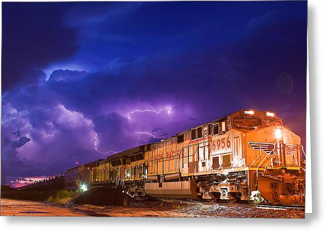 Thunderstorm Greeting Cards - Eastbound Strikes Greeting Card by Chris  Allington
