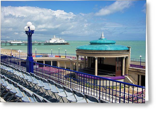 Bandstand Greeting Cards - Eastbourne Art Deco Bandstand Greeting Card by Donald Davis