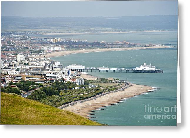 Seaside Jewelry Greeting Cards - Eastbourne from Beachy Head Sussex UK Greeting Card by Donald Davis