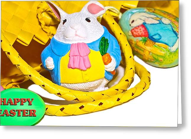 Photographs Greeting Cards - Easter Bunnies and Baskets Greeting Card by Susan Leggett