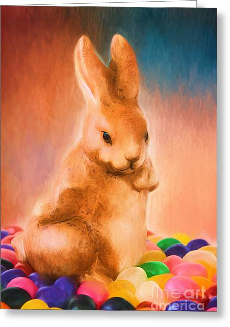 Green Beans Greeting Cards - Easter Bunny Greeting Card by Darren Fisher