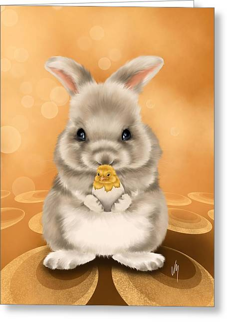 Easter Bunny Greeting Card by Veronica Minozzi
