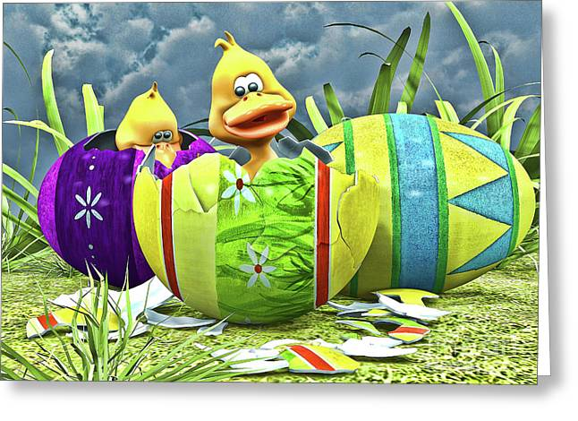 Ducklings Digital Greeting Cards - Easter Fun Greeting Card by Alexander Butler