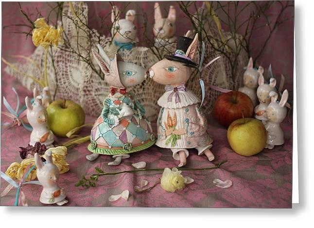 Hare Ceramics Greeting Cards - Easter Kiss Greeting Card by Elya Yalonetski