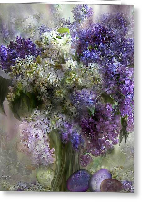 Flora Art Greeting Cards - Easter Lilacs Greeting Card by Carol Cavalaris