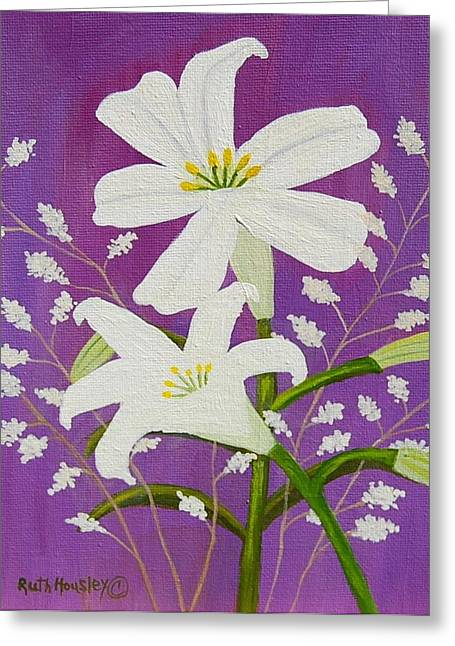 Ruth Housley Greeting Cards - Easter Lilies and Baby Breath  SOLD Greeting Card by Ruth  Housley