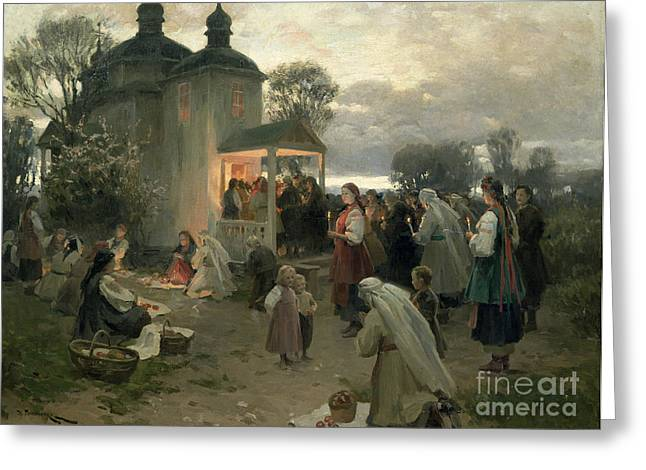 1862 Greeting Cards - Easter Matins Greeting Card by Nikolai Pimonenko