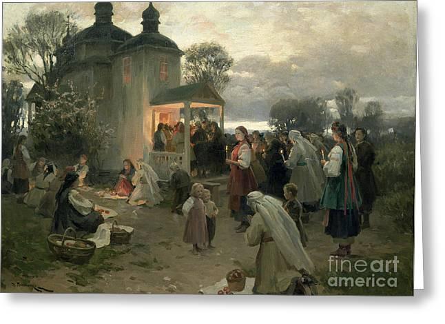 Easter Matins Greeting Card by Nikolai Pimonenko