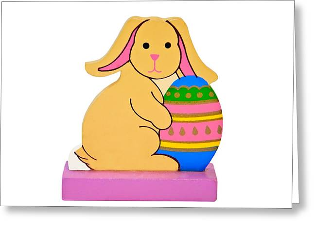 Photographs Greeting Cards - Easter Rabbit With Egg Greeting Card by Susan Leggett