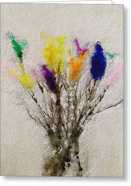 Easter Tree- Abstract Art By Linda Woods Greeting Card by Linda Woods