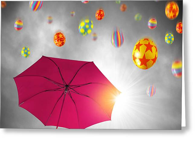 March Greeting Cards - Easter Umbrella Greeting Card by Carlos Caetano