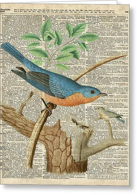 Bird On Tree Mixed Media Greeting Cards - Eastern Blue Birds Greeting Card by Jacob Kuch