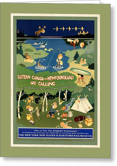 Eastern Canada And Newfoundland - Vintagelized Greeting Card by Vintage Advertising Posters