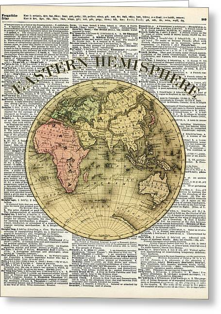 Continent Drawings Greeting Cards - Eastern Hemisphere Earth map over dictionary page Greeting Card by Jacob Kuch