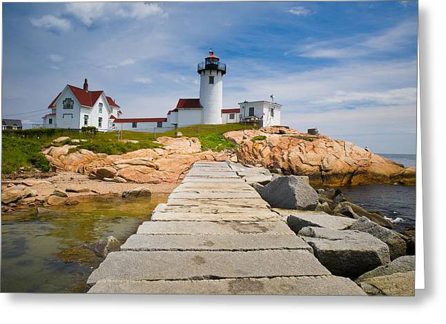 Cape Neddick Lighthouse Greeting Cards - Eastern Point Lighthouse Greeting Card by Emmanuel Panagiotakis
