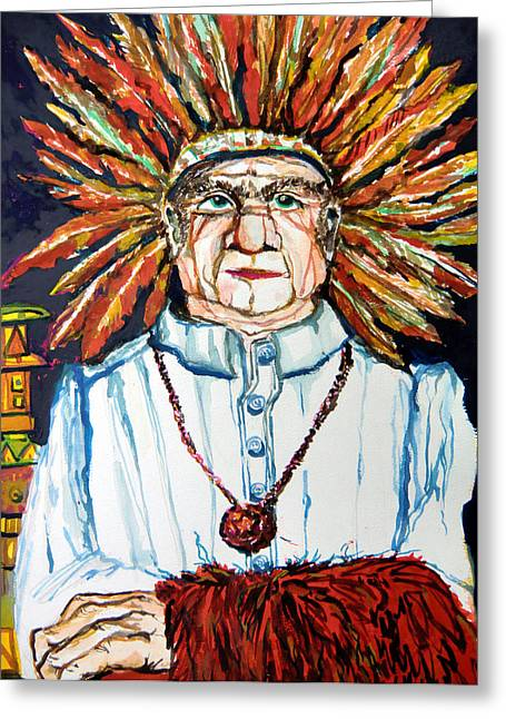 American Indian Mixed Media Greeting Cards - Eastern Star Greeting Card by Mindy Newman