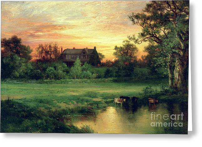 Country Schools Greeting Cards - Easthampton Greeting Card by Thomas Moran
