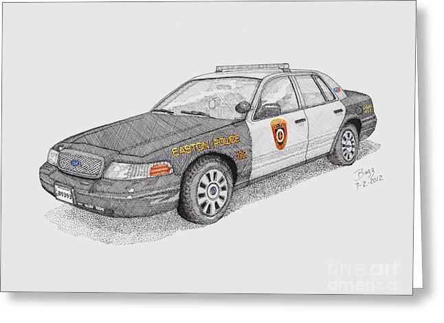 Traffic Drawings Greeting Cards - Easton Maryland Police Car Greeting Card by Calvert Koerber