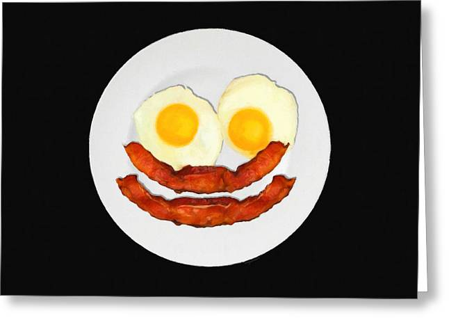 Sunny Side Up Eggs Greeting Cards - Eat Breakfast And Smile All Day blk Greeting Card by Wingsdomain Art and Photography