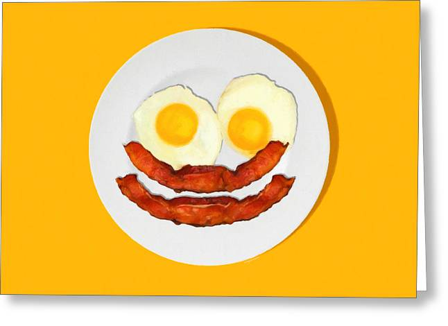 Sunny Side Up Eggs Greeting Cards - Eat Breakfast And Smile All Day ora Greeting Card by Wingsdomain Art and Photography