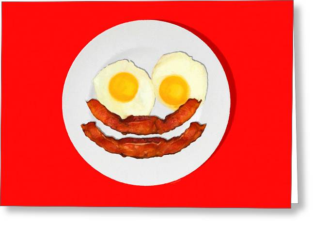 Sunny Side Up Eggs Greeting Cards - Eat Breakfast And Smile All Day red Greeting Card by Wingsdomain Art and Photography
