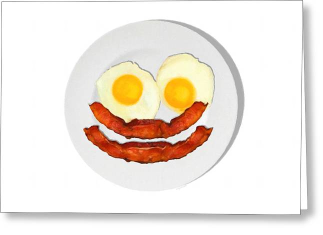 Sunny Side Up Eggs Greeting Cards - Eat Breakfast And Smile All Day whi Greeting Card by Wingsdomain Art and Photography