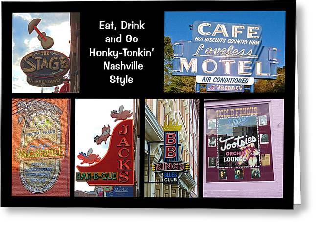 Eat, Drink And Go Honky-tonkin' Nashville Style Greeting Card by Marian Bell