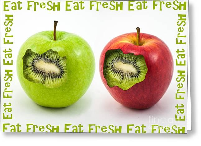Kiwi Digital Greeting Cards - Eat Fresh Greeting Card by Barbara Dudzinska